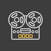Vintage bobbin tape player recorder device icon