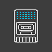 Vintage audio tape recorder icon dark background