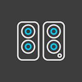 Two acoustic speaker vector icon dark background