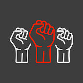 Three clenched fists raised in protest vector icon