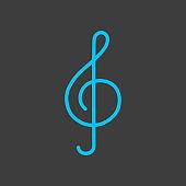 Treble clef vector icon on dark background