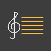 Treble clef icon on dark background. Music sign