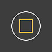 Stop button flat vector icon on dark background