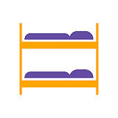 Bunk bed flat vector isolated sign glyph icon
