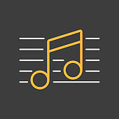 Stave and music notes vector icon dark background