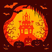 Halloween card. Holiday design, vector illustration for posters.