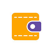 Billfold wallet isolated vector flat glyph icon