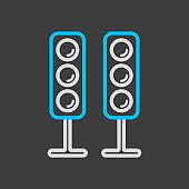 Sound system speakers vector icon dark background