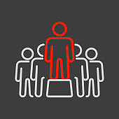 Person speaking in front of crowds vector icon