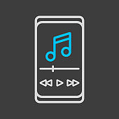 Smartphone with music player app vector icon