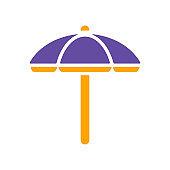 Beach parasol flat vector glyph icon isolated
