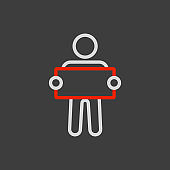 Man standing and holding in hands banner icon