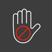 Hand stop or forbidden vector flat icon