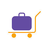 Baggage, luggage, suitcases on trolley glyph icon