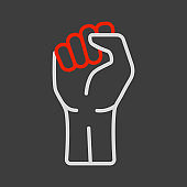 Fist raised up vector icon. Protest, strike sign