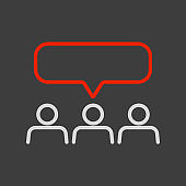 Crowd of people with text bubbles vector icon