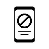 Prohibition sign on smartphone screen glyph icon