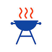 Grill BBQ cookout flat vector glyph icon
