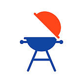 Grill barbeque cookout flat vector glyph icon
