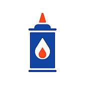 Coaling fluid glyph icon. Barbecue and grill sign