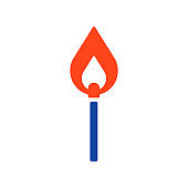 Burning match glyph icon. Barbecue and bbq grill