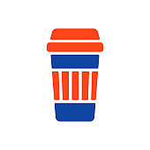 Takeaway paper coffee cup vector glyph icon