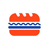 Subway Sandwich vector glyph icon. Fast food sign