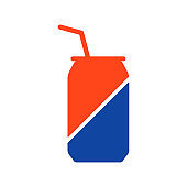 Soda cans vector glyph icon. Fast food sign