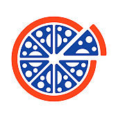 Pizza vector glyph icon. Fast food sign