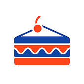 Piece of cake vector glyph icon. Fast food sign