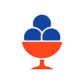 Ice-cream balls in bowl vector glyph icon