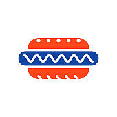Hot dog vector glyph icon. Fast food sign