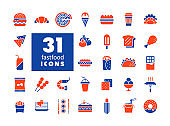 Fastfood, Food court vector glyph icon set