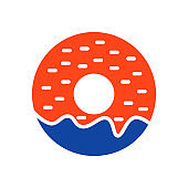 Donut vector glyph icon. Fast food sign