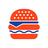 Burger vector glyph icon. Fast food sign