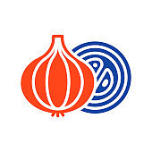 Onion flat vector glyph icon. Vegetable symbol