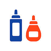 Ketchup mustard and mayonnaise spicy bottle icon