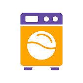 Washing machine flat vector isolated glyph icon
