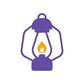 Vintage camping lantern vector flat glyph icon