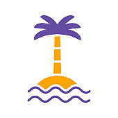 Tropical palm on island with sea waves glyph icon