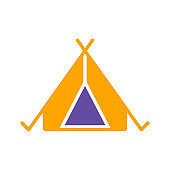 Tourist tent glyph icon. Camping and Hiking sign