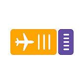 Ticket plane flat vector glyph icon. Summer sign