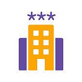 Three star hotel vector isolated glyph icon