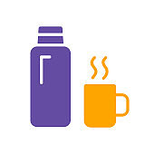 Thermos bottle vector glyph icon. Camping sign