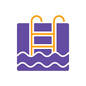Swimming pool flat vector isolated sign glyph icon