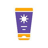 Sunscreen cream in tube flat vector glyph icon