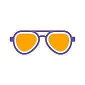 Sunglasses vector glyph icon design. Summer sign