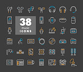 Multimedia devices and symbols icons set on dark background