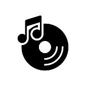 Disc and music note vector glyph icon