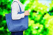 Japanese woman use reusable bag for ecology
